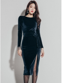 Wholesale Korea Round Neck Tie Waist Split Velvet Dress