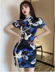 Retro Fashion Crane Flowers Slim Cheongsam Dress