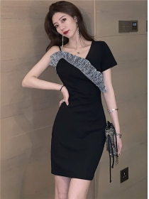 Sexy Korea Shining Flouncing Slim Short Sleeve Dress