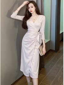 Stylish New 2 Colors Tie Waist V-neck Split Slim Dress