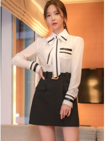 Korea OL Tie Collar Blouse with Short A-line Skirt