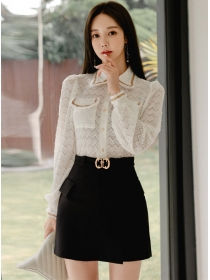 Modern Lady Shirt Collar Puff Sleeve Blouse with A-line Skirt
