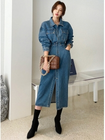 Quality Fashion Single-breasted Denim Shirt Dress