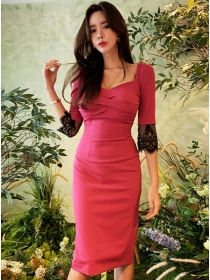 Modern Lady Pleated Square Collar Bodycon Dress