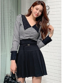 Fashion Lady Lace Doll Collar Houndstooth Pleated Dress Set