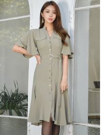 Korea Stylish Tie Waist Flouncing Sleeve Shirt A-line Dress