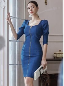 Modern Wholesale Zipper Open Square Collar Slim Dress