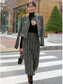 Quality New 2 Colors Double-breasted Thick Tweed Dress Set