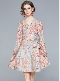 Charm Fashion Tie Waist V-neck Flowers Puff Sleeve Dress