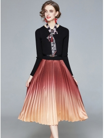 Modern Lady Tie Collar Knitting Splice Pleated Dress