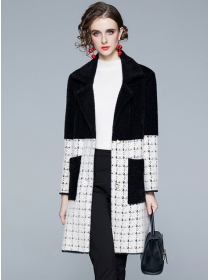 Europe Fashion Color Block Plaids Thick Fur Coat