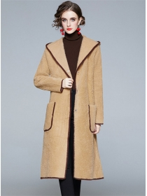 Vogue Lady 2 Colors Hooded Thick Fur Long Coat