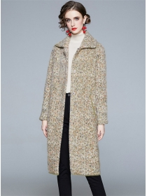 Winter Fashion 2 Colors Turn-down Collar Thick Long Coat