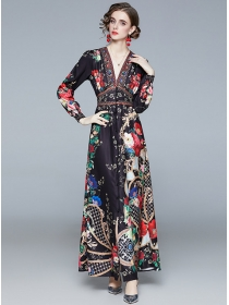 Retro Europe Elastic Waist Flowers V-neck Maxi Dress