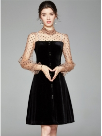 Classic Europe Gauze Dots Puff Sleeve Splicing A-line Dress