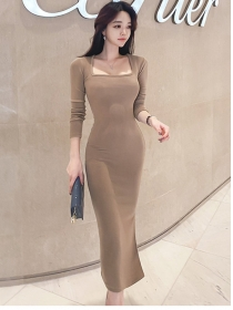 Modern Lady 2 Colors Square Collar Bodycon Knitting Dress