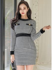 Fashion Korea Round Neck Houndstooth Slim Dress
