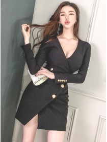 Sexy Lady 2 Colors V-neck Fitted Waist Long Sleeve Dress