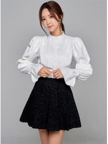 Grace Lady Puff Sleeve Blouse with Flouncing A-line Skirt