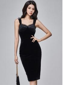 Grace Lady High Waist Straps Velvet Two Pieces Dress