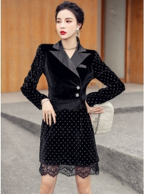 Vogue Lady Tailored Collar Lace Splicing Dots Dress Set