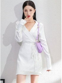 Autumn 2 Colors Tailored V-neck Tie Waist Slim Dress