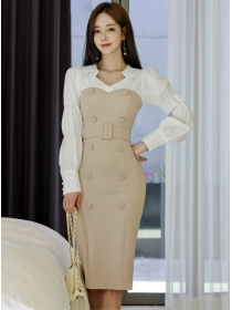 Quality Fashion Double-breasted Puff Sleeve Bodycon Dress
