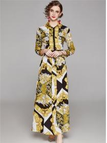 Vogue Europe High Waist Flowers Shirt Maxi Dress