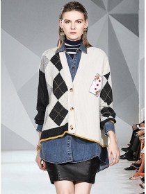 Angel Embroidery Plaids Knitting Denim Loosen Coat