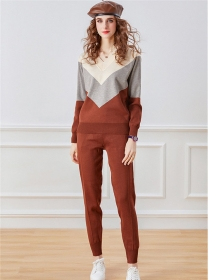 Retro Wholesale 3 Colors Block Thick Knitting Long Suits