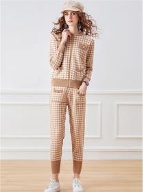 Hot Selling 2 Colors Houndstooth Knitting Two Pieces Suits