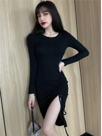 Fashion Autumn 2 Colors Draw-string Pleated Cotton Dress