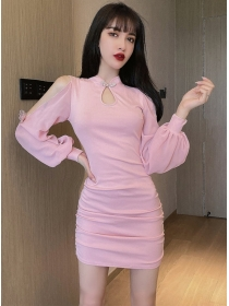 Fashion Lady 2 Colors Off Shoulder Puff Sleeve Slim Dress