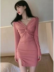 Sexy Fashion 2 Colors Twisted V-neck Bodycon Dress