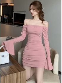 Modern Sexy 2 Colors Boat Neck Flare Sleeve Slim Dress