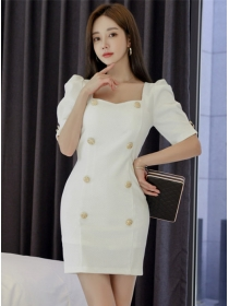 Modern OL Square Collar Double-breasted Slim Dress