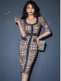 Classic Fashion Single-breasted Plaids Skinny Dress