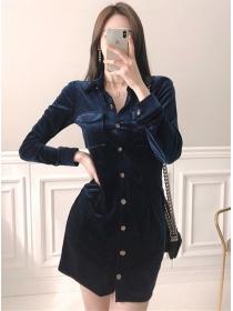 Vogue Lady Single-breasted Bodycon Velvet Dress