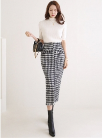 Modern Lady Knitting Tops with Houndstooth Slim Long Skirt