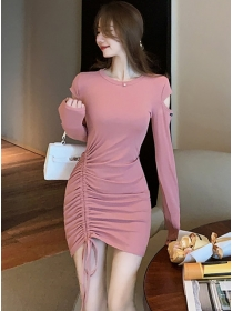 Fashion Wholesale 2 Colors Draw-string Pleated Cotton Dress