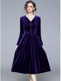 Europe Fashion 2 Colors V-neck Slim Waist Velvet Dress
