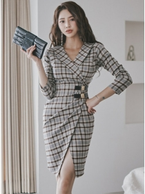 Fashion Lady Tailored Collar Fitted Waist Plaids Slim Dress