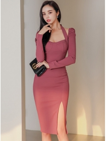Sexy Wholesale Backless Halter Bodycon Long Sleeve Dress