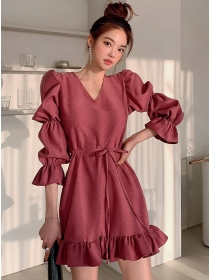 Hot Selling V-neck Puff Sleeve Fishtail A-line Dress