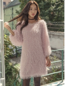Fashion Korea Round Neck Loosen Puff Sleeve Fur Dress