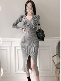 Korea Stylish V-neck Stripes Split Bodycon Knitting Dress