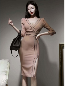 Vogue Wholesale V-neck High Waist Split Bodycon Dress