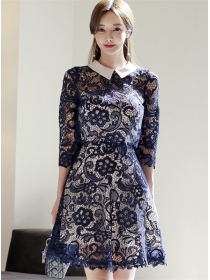 Pretty Lady Doll Collar Lace Blouse with Straps A-line Dress