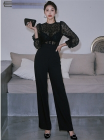 Vogue Lady High Waist Lace Splicing Long Jumpsuit