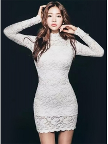 Grace Fashion Stand Collar Lace Long Sleeve Slim Dress